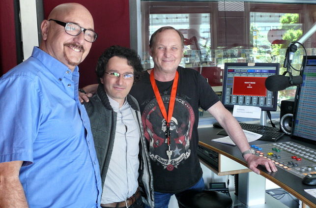Marios Joannou Elia at DONAU 3 FM with legendary event producer Carlheinz Gern (Elton John, Scorpions, The Who)