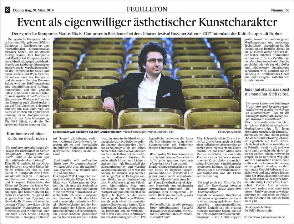 Marios Joannou Elia - Event als eigenwilliger ästhetischer Kunstcharakter (Passauer Zeitung)