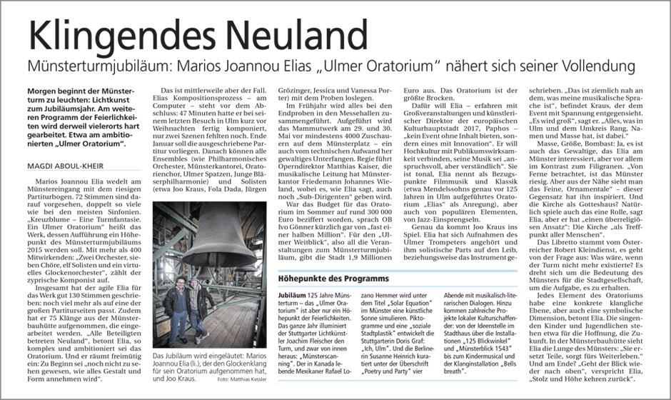 """Klingendes Neuland: Marios Joannou Elias """"Ulmer Oratorium"""" nähert sich seiner Vollendung (Südwest Presse, 2014)"""